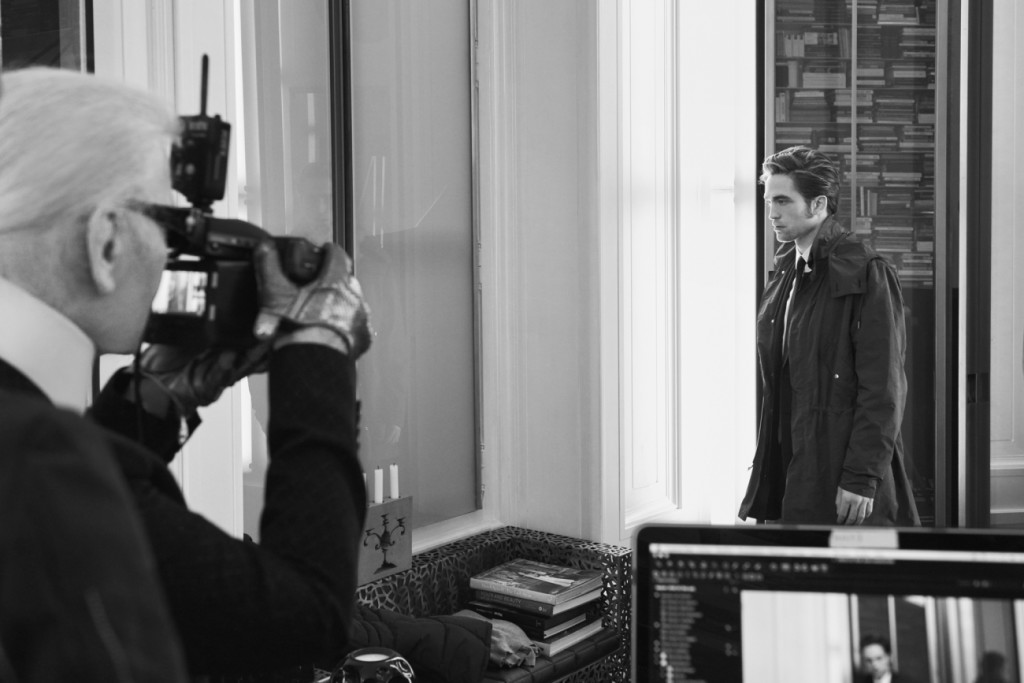 Behind the scenes of the Dior Homme fall 2016 campaign shoot, featuring Robert Pattinson, photographed by Karl Lagerfeld.